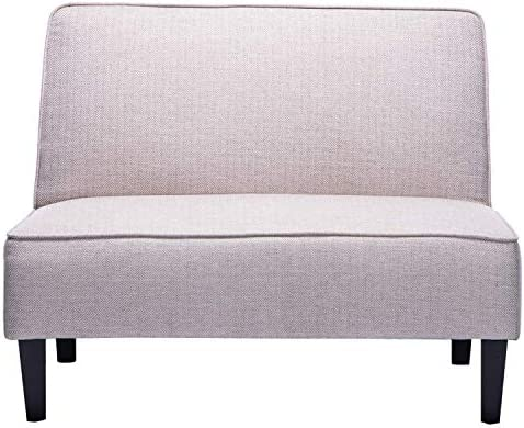 ANNJOE Cushioned Linen Loveseat Settee Upholstered Sofa Backrest Couch Banquette Bench