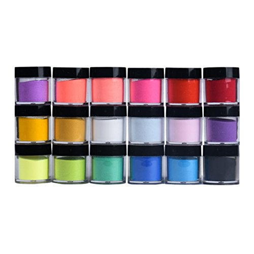 18 Pc Colors Acrylic 3D Nail Art Tips Design Powder Dust - Sandistore UV Gel DIY Decoration Nail Art Tips Polish Acrylic Glitters Powder Gel DIY Decoration (B)
