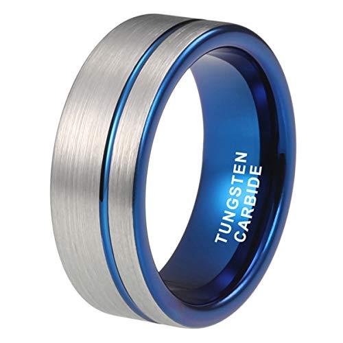 iTungsten 8mm Mens Tungsten Rings Womens Wedding Bands Pipe Cut Offset Line Matte Finish Black/Blue/Rose Gold