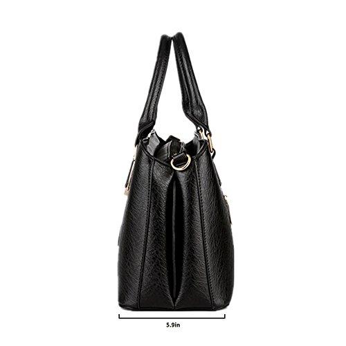 Pahajim women handbags PU leather top handle satchel tote purse shoulder bags (wine red) by Pahajim (Image #4)