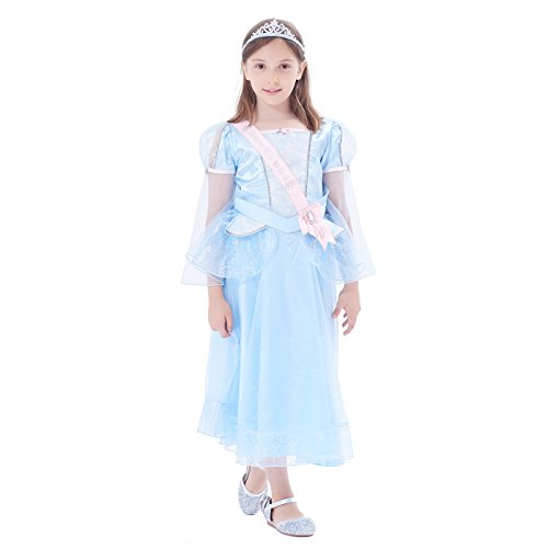 IKALI Girl Party Fancy Dress Up, Lace Ruffle Princess Wedding Costume Set with Tiara by IKALI