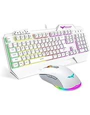 Havit Keyboard Rainbow Backlit Wired Gaming Keyboard Mouse Combo, LED 104 Keys USB Ergonomic Wrist Rest Keyboard, 4800DPI 6 Button Mouse for Windows Gamer Desktop, Computer (White)