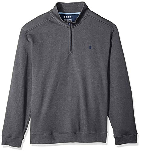 IZOD Men's Big and Tall Advantage Performance Fleece 1/4 Zip, Charcoal Grey, Large -