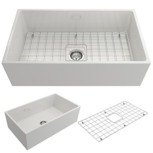 BOCCHI 1352-001-0120 Contempo Apron Front Fireclay 33 in. Single Bowl Kitchen Sink with Protective Bottom Grid and Strainer in White,