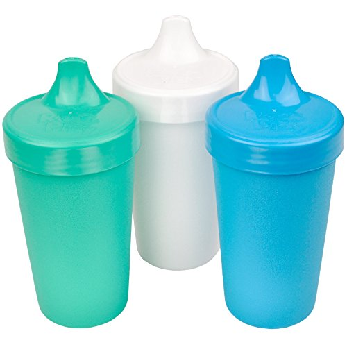 Re-Play Made in The USA 3pk No Spill Sippy Cups for Baby, Toddler, and Child Feeding - Aqua, White, Sky Blue (Cool Breeze)