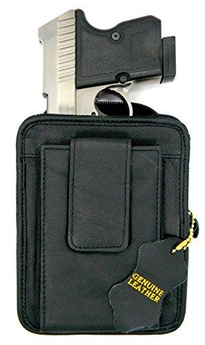 Small Arms Belt Holster - Black Leather Concealment Gun Belt Pack Holster for Ruger LCP 380, Sig Sauer P238, Kel-Tec 380, S&W Bodyguard 380, Taurus TCP 380, Diamondback 380, Kahr P380, Small Derringers, etc.
