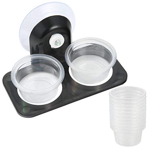 - SLSON Gecko Feeder Ledge Acrylic Improved Suction Cup Reptile Feeder with 20 Pack Plastic Bowls for Reptiles Food and Water Feeding,Black