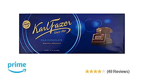 Amazon Com Karl Fazer Blue Original Finnish Milk Chocolate Bar