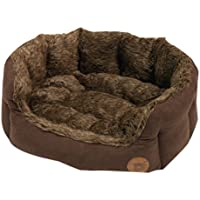 Petface Brown Lux Fur Oval Bed,X-Small
