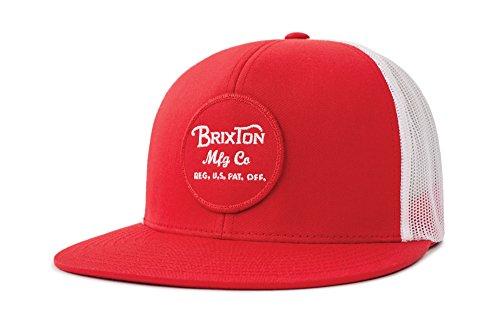 Brixton Men's Wheeler Medium Profile Adjustable Mesh Hat, Red/White, ()