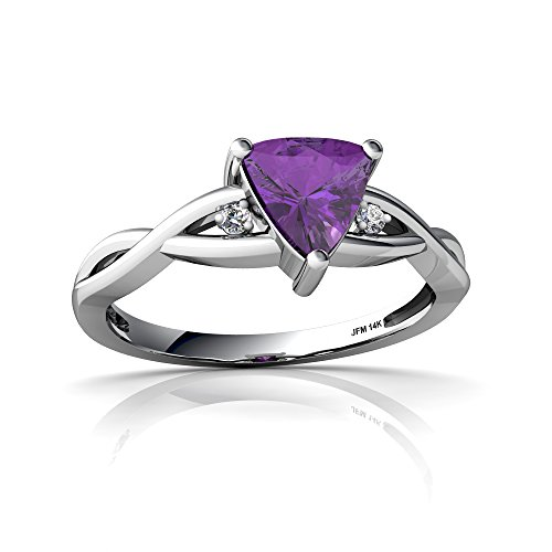 14kt White Gold Amethyst and Diamond 6mm Trillion Twist Ring - Size 9 Diamond Trillion Twist Ring