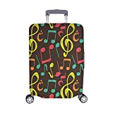 InterestPrint Suitcase Protectors Dust Proof Luggage Covers Music Note Background Fit 22-25 Inch Luggage