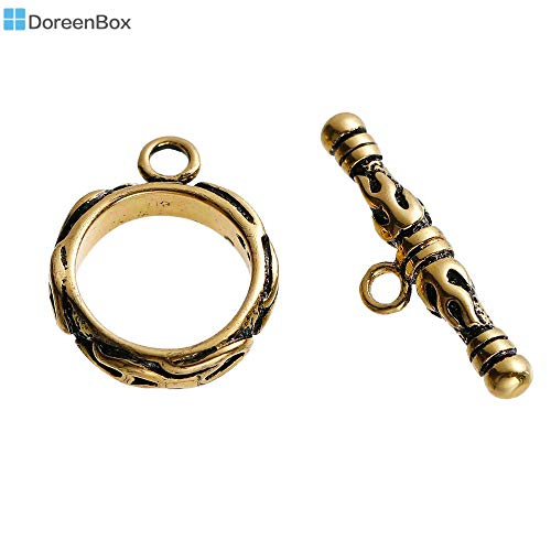 Laliva Accessories - Copper Toggle Clasps Round Golden Tone Antique Gold Color Flame Fire Carved 17x14mm(5/8