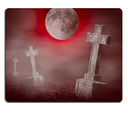 Liili Mouse Pad Natural Rubber Mousepad IMAGE ID: 23132878 Mystery old graveyard with a group of cross tombstones at midnight Halloween (Tombstone Funny Quotes)