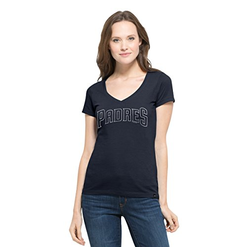 MLB San Diego Padres Women's '47 Flanker MVP V-Neck Tee, Small, Fall Navy