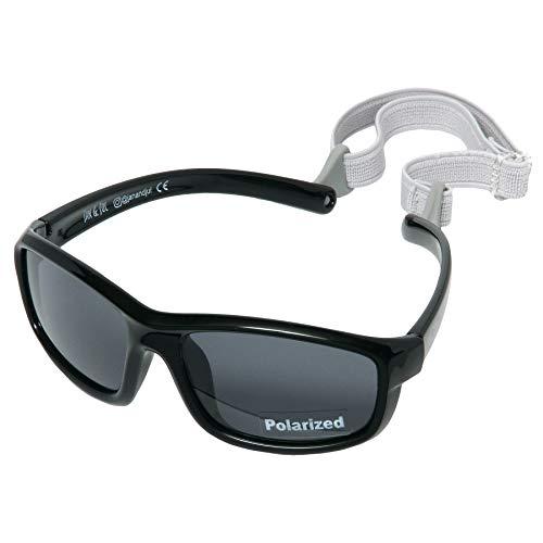Baby Toddler Polarized Sun-glasses With Strap 100% UV Block (M: 6m-6Y, Black)