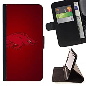 For Apple Iphone 4 / 4S Arkansas Hogs Razorback Football Style PU Leather Case Wallet Flip Stand Flap Closure Cover