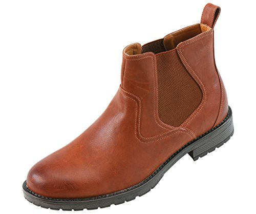 Amali Mens Tan Classic Plain Toe Smooth Boot Slip On Double Gore with Treaded Sole: Style 8034 Tan-028 12 D (M) US
