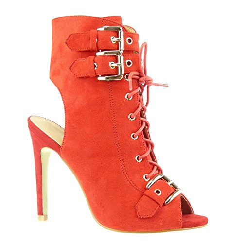 Booty Metallic Red Shoes Women's Boots Open High Stiletto Stiletto Heel cm 12 Fashion Ankle Sandals Buckle Angkorly qvHXwBq