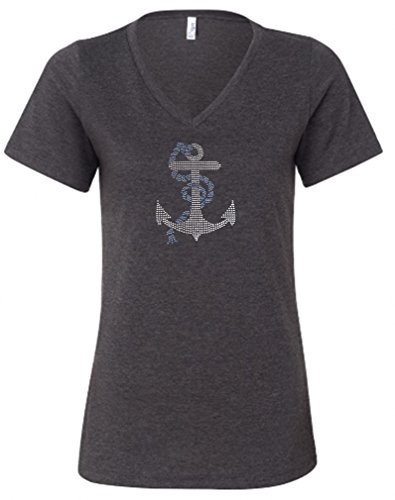Awesome Graphics Anchor Rhinestone V-Neck Dark Heather T Shirt (Large,Dark Heather) (Tee T-shirt Rhinestone Graphic)