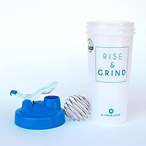 GOMOYO Rise & Grind on BlenderBottle brand Classic shaker cup, 28oz Capacity, Includes BlenderBall whisk (White/Cyan - 28oz)