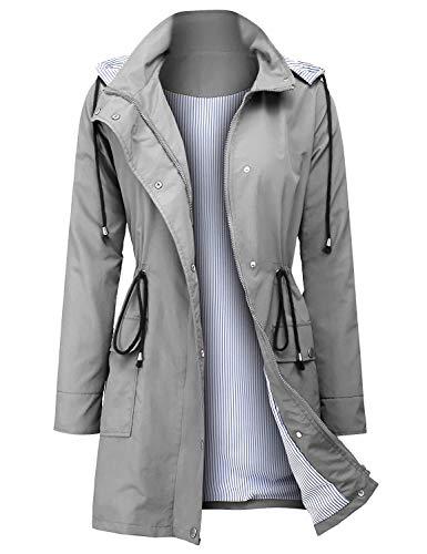 UUANG Rain Jacket Women Waterproof Hood Raincoat Outdoor Windbreaker (Grey,M)