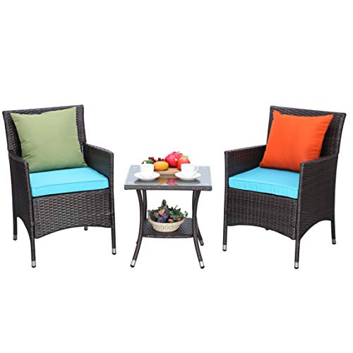 Do4U 3 Pieces Outdoor Patio Furniture Set Outdoor Wicker Conversation Set Cushioned PE Wicker Bistro Set Rattan Chairs with Coffee Table | Porch, Backyard, Pool Garden | Dining Chairs (918-MIX-TRQ)
