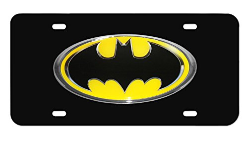 Elektroplate Batman Oval Yellow and Black 3D License Plate - Oval License Plate