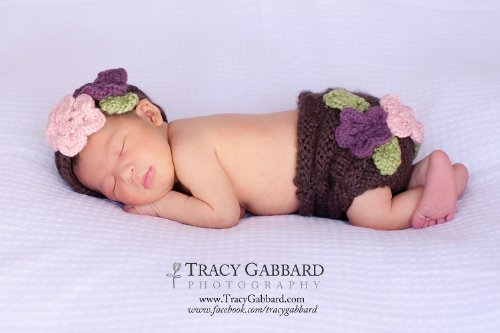 Floral Diapers (Floral Diaper Cover and Headband Set Knitting Pattern - 4 Sizes Included)