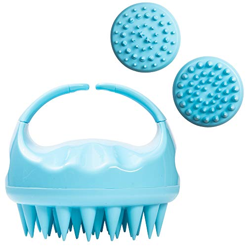 Hair Scalp Massager and Shampoo Brush for Shower Dandruff Removal - Wet and Dry - Encourages Growth - Includes 2 Massage Removal Heads