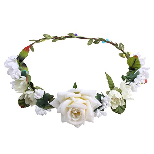 White Rose Headband (ICObuty Rose Flower Crown For Wedding Festival Headband Flower Wreath Garland (Ivory))