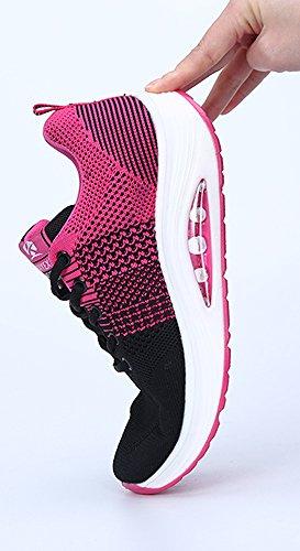 Women's Trainers Sports Running Shoes Knit Mesh Casual Sneaker Wedge Platform Walking Shoes Size Rose-black e1joV