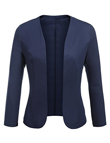 Concep Women's Cropped Blazer Casual Work Office Jacket Lightweight Slim Fit Cardigan (Navy Blue, ()