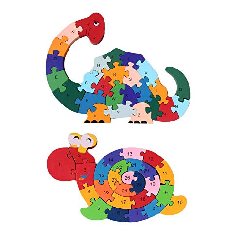 Wooden Puzzles,Alphabet Jigsaw Puzzle Building Blocks Animal Wooden Letters Numbers Block Toys for Children Toddlers-Snail& Dinosaur