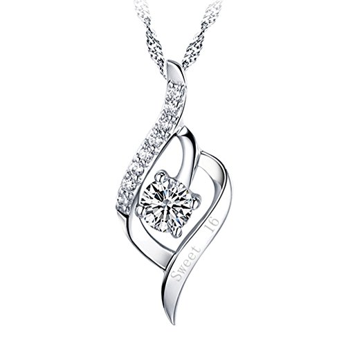 Engraved Pendant Necklace Angel Wing Sterling Silver Quote