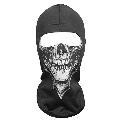 WTACTFUL 3D Ghost Skull Face Mask Scary Balaclava Cosply Costume Halloween Party Full Face Mask for Skiing Snowboard Cycling Motorcycle -