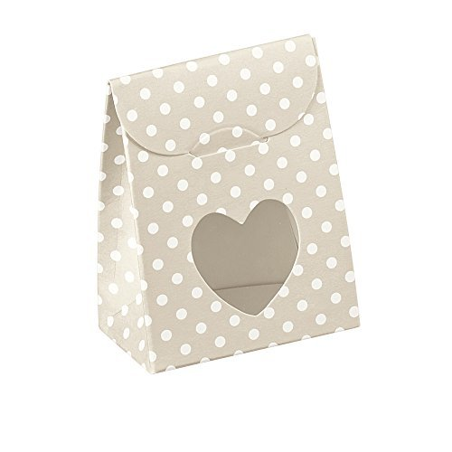 Decorative Gift Favor Box with Lid Heart Cutout, Set of 12, Best Designer Quality for Birthday, Wedding, Parties, Easy Fold, No Assembly Required, by Giovanni Grazielli, Tan/White Polka - How To Make Tiffany A Bow