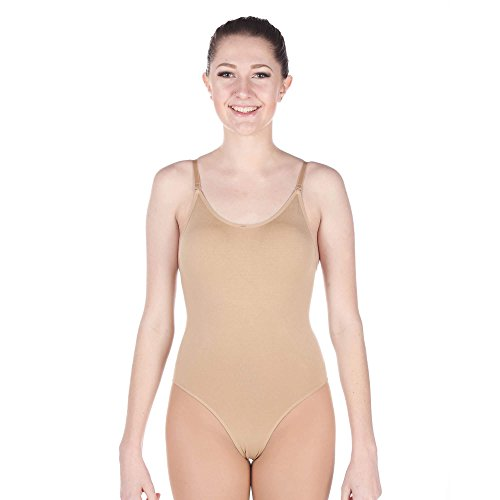 Danzcue Women's Seamless Camisole Undergarment Leotard With Adjustable Straps, Nude, L/XL Womens Undergarments
