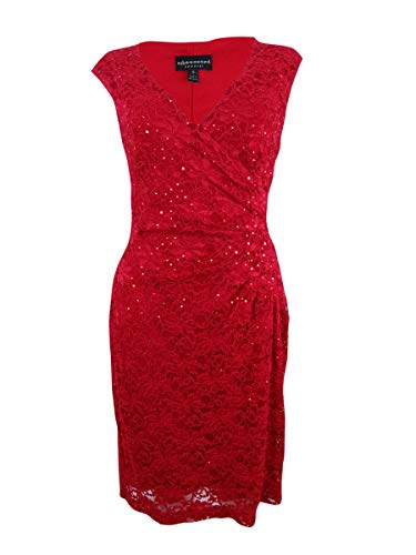 (Connected Women's Surplice Sequined Lace Dress (10, Red))
