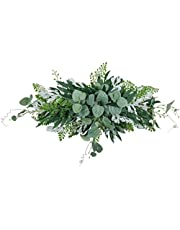 Monland Greenery Swag Artificial Front Door Wreath Hanging Eucalyptus Leaves Garland for Home Window Wall Wedding Arch Decor