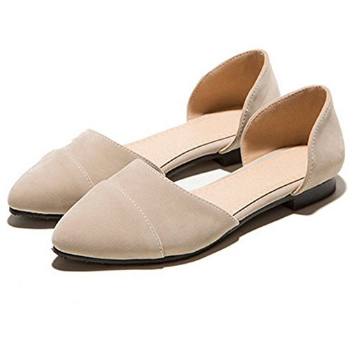 LongFengMa Women's Sexy Suede Slip On Pointed Toe Flat Sandals Shoes apricot rPBsst8y