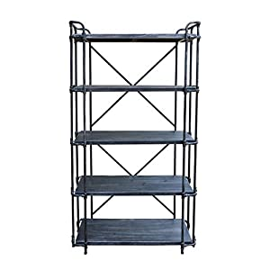 Christopher Knight Home 306449 Bret Indoor 5-Tier Book Shelf, Brushed Dark Gray and Pewter,