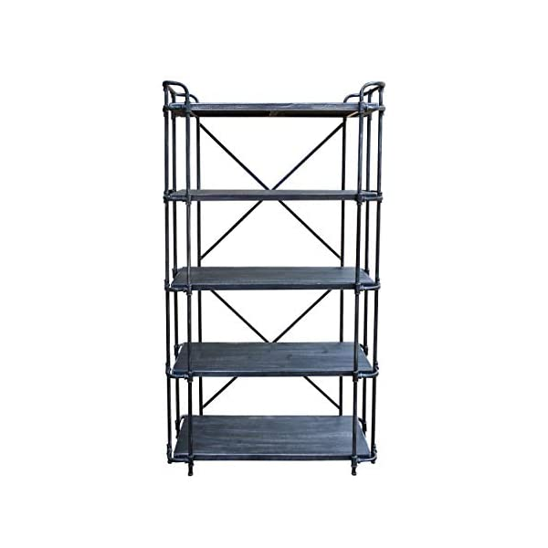 Christopher Knight Home Bret Indoor 5-Tier Book Shelf, Brushed Dark Gray and Pewter, 3
