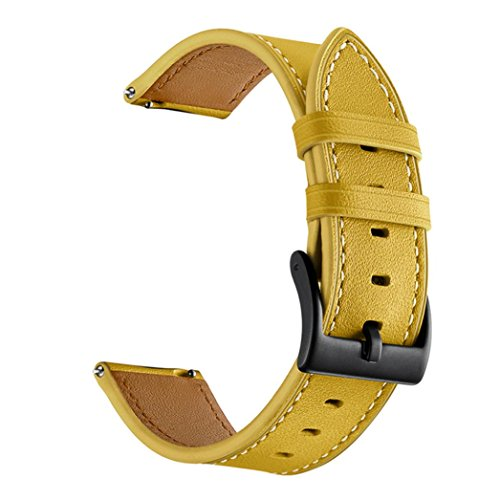Price comparison product image Owill Genuine Leather Watch Band Wrist Straps Bracelet for Xiaomi Huami Amazfit Bip Youth Watch,  Fits 140mm-190mm Wrist (Yellow)