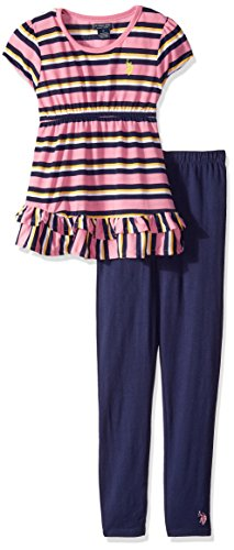 U.S. Polo Assn. Girls' 2 Piece Short Sleeve Striped Tunic and Solid Legging Set