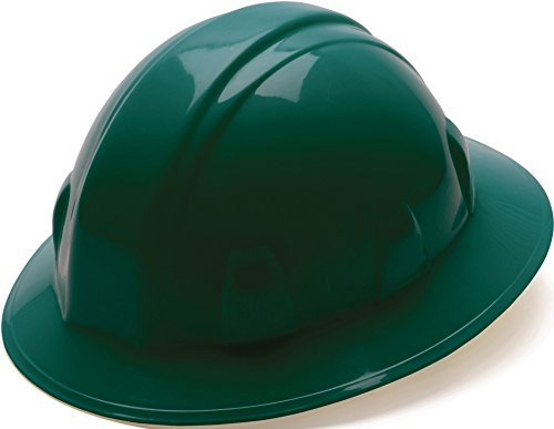 Pyramex Green Full Brim Style 4 Point Ratchet Suspension Hard Hat