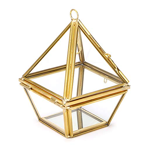 Hipiwe 2-Tier Jewelry Ring Display Holder - Glass Geometric Pyramid Jewelry Ring Organizer Case, Decorative Ring Bearer Gift Box Hanging Prism Ring Stand for Wedding, Proposal, ()