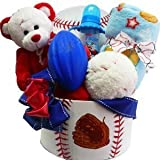 Art of Appreciation Gift Baskets American All Star Baby Boy Baseball Gift with Teddy Bear, Red/White/Blue
