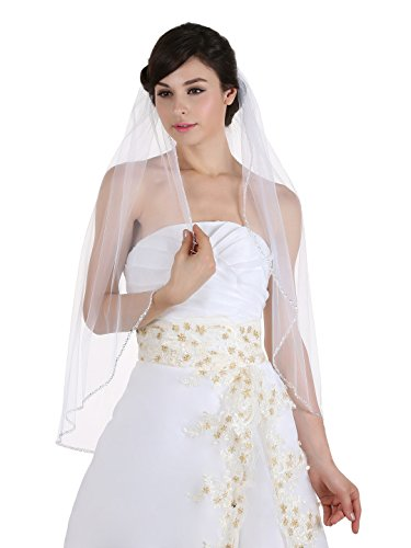1T 1 Tier Crystals Pearls Beaded Wedding Veil ( Fingertip Length 36