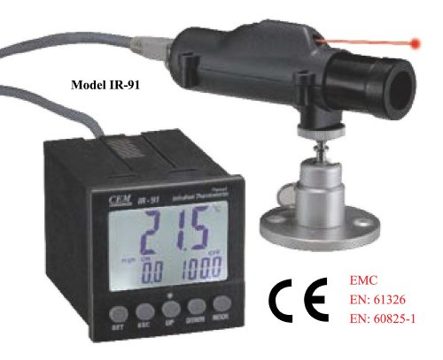 Ruby Electronics IR-91 Industrial 50:1 Panel IR Laser Thermometer up to 1652 deg F 900 deg C